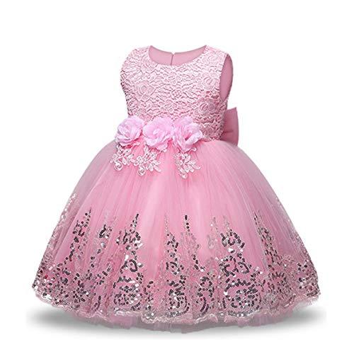 LZH Vestido para niñas bebés Lentejuelas Vestidos para niños Tutu Flor Fiesta de cumpleaños Vestido de boda