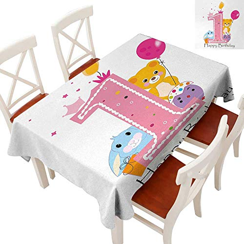 Dust-Proof Table Cover Waterproof/Oil-Proof/Spill-Proof Tabletop Protector Princess Girl and Party Cake with Candle Teddy Bear Toy Print Pale Pink and Hot Pink 70