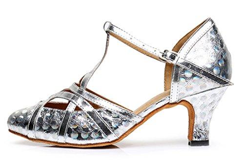 F & M piel sintética para mujer Mid tacón Salsa Tango salón de baile zapatos de baile latino Party CM101 6cm Printing Silver