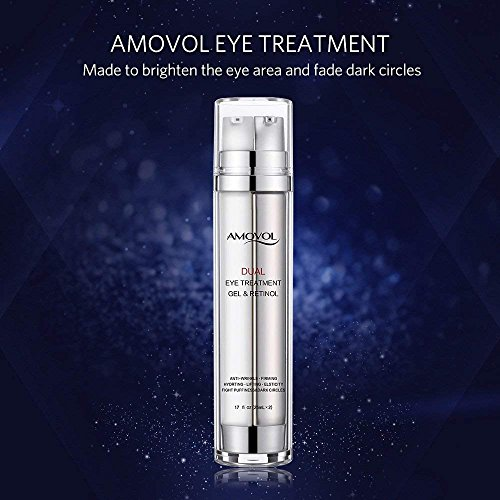 Eye Gel with Retinol for Dark Circles, Puffiness, Wrinkles and Bags, Day & Night Anti-Aging Eye Treatment Cream for Under and Around Eyes, Best Gift for Women and Men, 2 x 0.85oz by AMOVOL (Image #1)