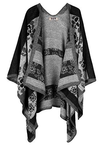 DJT Womens Color Blanket Poncho