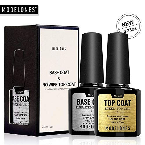 Modelones Soak Off UV LED Gel Nail Polish Fast Dry Base and No Wipe Top Coat Kit Set in New UNBREAKABLE Bottle (20 ml)