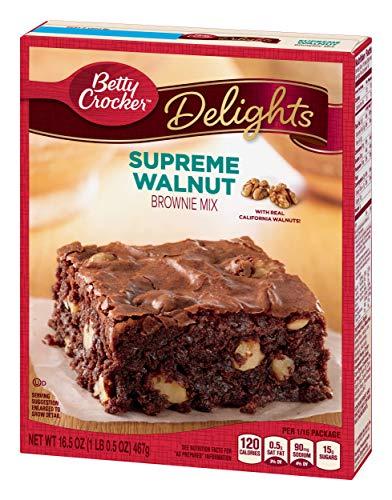 Betty Crocker Delights, Supreme Walnut Brownie Mix, 16.5 Oz Box