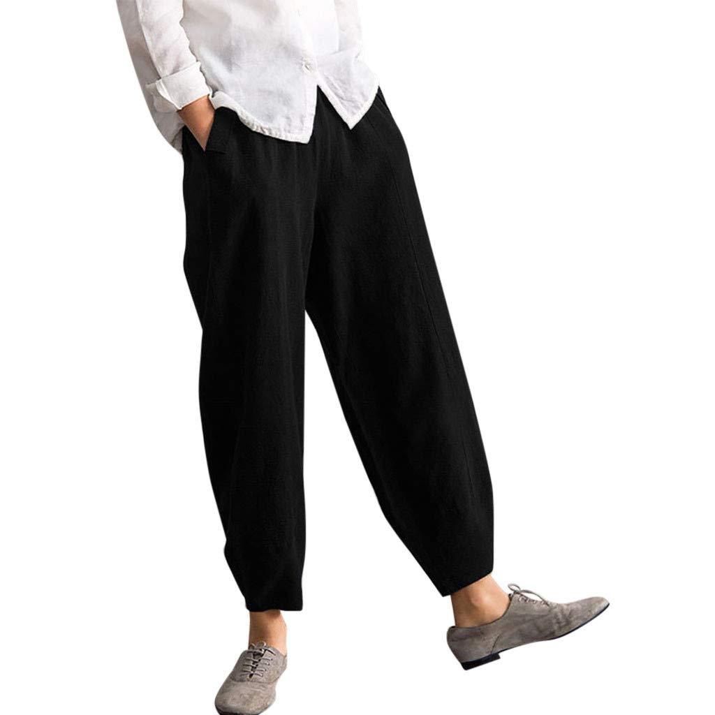 Pervobs Women Fashion Loose High Waist Solid Comfortable Elastic Waist Linen Pocket Long Pants Trousers (4XL, Black) by Pervobs Women Pants (Image #1)