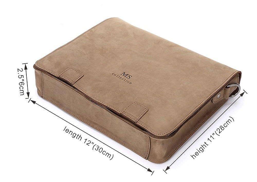 Win/&Income Genuine Crazy Horse Leather Laptop Bag Shoulder Messenger Bag,Brown