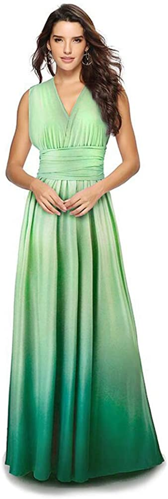 FYMNSI Women Evening Long Dress Gradient Color Convertible Multi Way Wrap Wedding Bridesmaid Party Pageant Cocktail Ball Prom Gown Summer Beach Maxi Sundress Flirty Transformer Bandage Dress