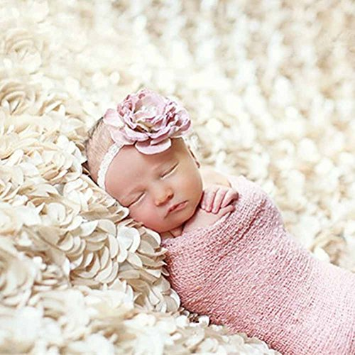 PePeng Newborn Photography Props, Use Soft 3D Rose Flower Backdrop Beanbag Rug to Create Memorable Kids Portrait Photography (White) by PePeng (Image #1)