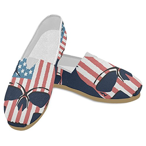 Mary Classic Skull Womens Jane Flag InterestPrint Sneakers Slip American Shoes Flat Fashion Loafers 1 Casual On Canvas pndxwSdZv