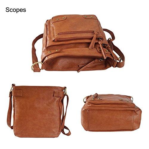 FanCarry Washed Soft PU Leather Crossbody Purse Multi Pocket Shoulder Satchel Bags for Women (Dark Orange-upgraded) by FanCarry (Image #3)