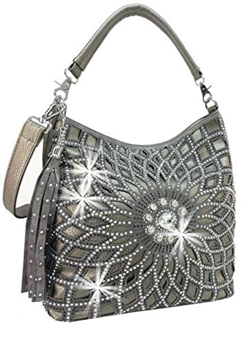 Dazzling Extra Bling Western Rhinestone Messenger Bag Shoulderbag Purse Pewter