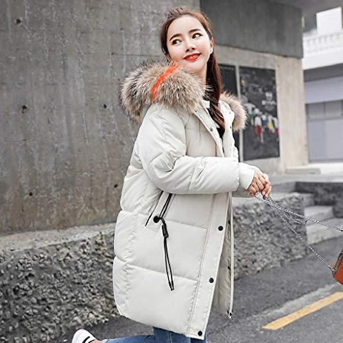 Femmes Femme Long Veste Chaude Fausse Hiver Chaud Blanc Trydoit Et À Fourrure Épaisse Manteau Capuche dqfxZBw