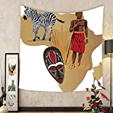 Gzhihine Custom tapestry Ambesonne Safari Decor Collection Africa Map and Tribal Ethnic Cultural Symbols with a Native Local Man Art Work Print Bedroom Living Room Dorm Tapestry Multi