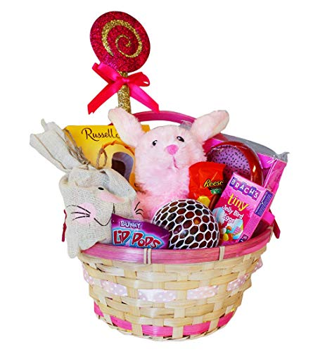 (Pink Easter Basket for Girls - BONUS! Easter Gift Slime Basket - Filled Easter Basket with Premium Solid Milk Chocolate Easter Bunny - Lots of Easter Basket Candy - Easter)