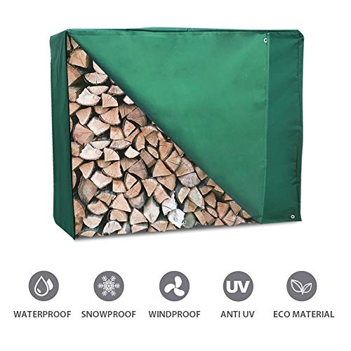 - 4 Feet Firewood Rack Cover with Zipper, Outdoor Heavy Duty Waterproof Log Storage Rack Cover, Dustproof All-weather Protective Rectangular Wood Storage Carriers Cover, Green, 48'' x 24'' x 42''