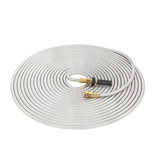 GRUNEN WOLKEN 75 FT 304 Stainless Steel Metal Garden Hose with Solid Brass Nozzle - Solid Metal Fittings and Newest Spray Nozzle, Lightweight, Kink Free, Durable and Easy to Store (75FT)