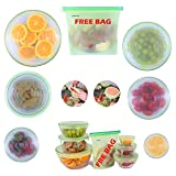 EasyHoming Silicone Stretch Lids Set | 7 pcs | TOP QUALITY | 10x More Streatchable and Durable l 6 Reusable Lid-Bowl Food Covers | 1 FREE Bag for Food | Convenient Storage | Eco-Friendly Kitchen