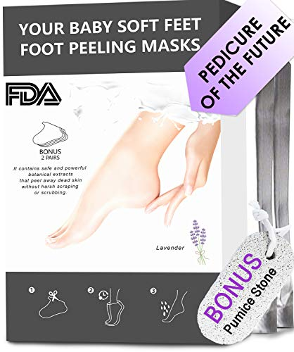 2 pack Foot Peel Mask + Pumice Stone Dead Skin Baby Feet Foot Scrubber Callus Remover Make Your Feet Soft Cracked Heel Foot Spa Treatment Silky Foot Pumice Stone for Feet Pedicure Kit for Home Use