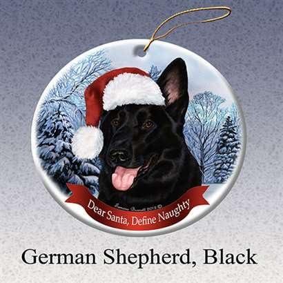Holiday Pet Gifts German Shepherd Black Santa Hat Dog Porcelain Ornament Home Kitchen