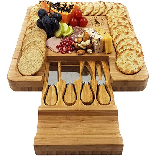 Cheese Board and Knife Set 13¼ x 13¼ inch Hidden Drawer with 4 Stainless-Steel Serving Knives Cracker Groove Large Solid Bamboo Cutting Plate Server Tray Platter Ideal Wood Gift
