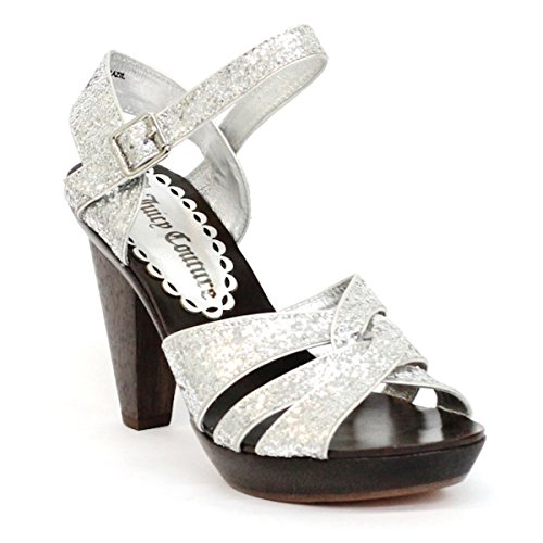 Juicy Couture purpurina Open Toe Bloque Tacones Talla 3,5 Plateado - plata