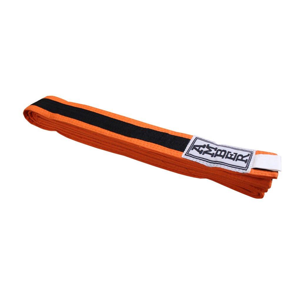 Amber Fight Gear Karate Belt Orange/Black Size 6 by Amber Fight Gear