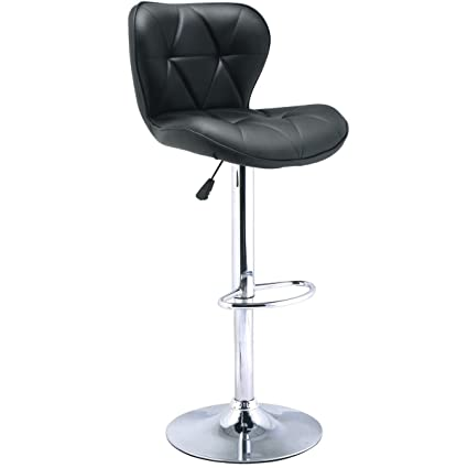 1 PC Bar Stool Swivel Adjustable PU Leather Barstools Bistro Pub Chair Black New