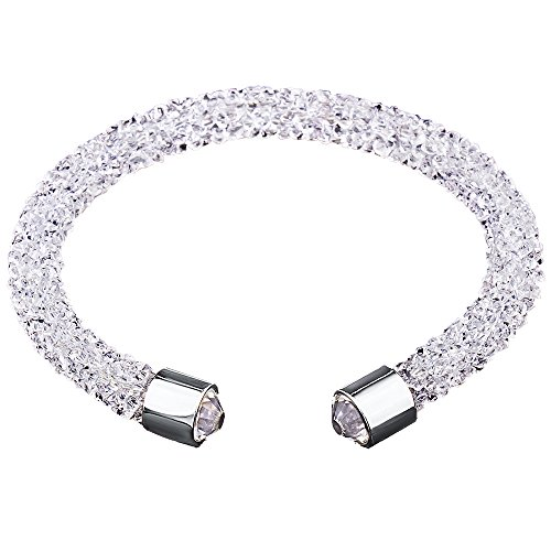 (Silver and Post Women's White Cuff Bracelet Design with Crystals from Swarovski Bamboo Gift Box Included)