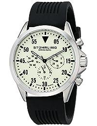 Stuhrling Original Men's 600.01 Aviator Analog Display Swiss Quartz Black Watch