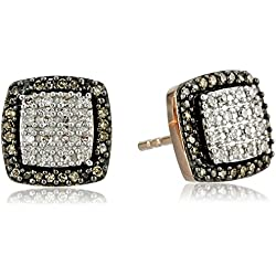 10k Rose Gold Natural Brown and White Diamond Cushion Cut Stud Earrings (1/4 cttw, J-K Color, I2-I3 Clarity)