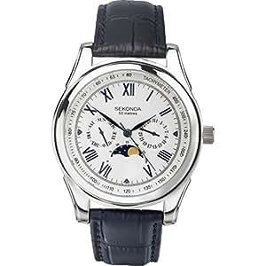 Sekonda 3504 - Reloj para hombres, correa de cuero color negro