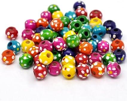 per colorare e colorare colore azzurro con foro da 2,9 mm 20 perline di legno da 10 mm forma rotonda con motivo floreale SiAura Material per fai da te