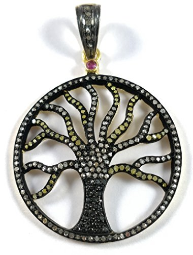 Silver Pendant Round Shape, Yellow Spinel Tree of Life Charm, Yellow Spinel Pendant ()