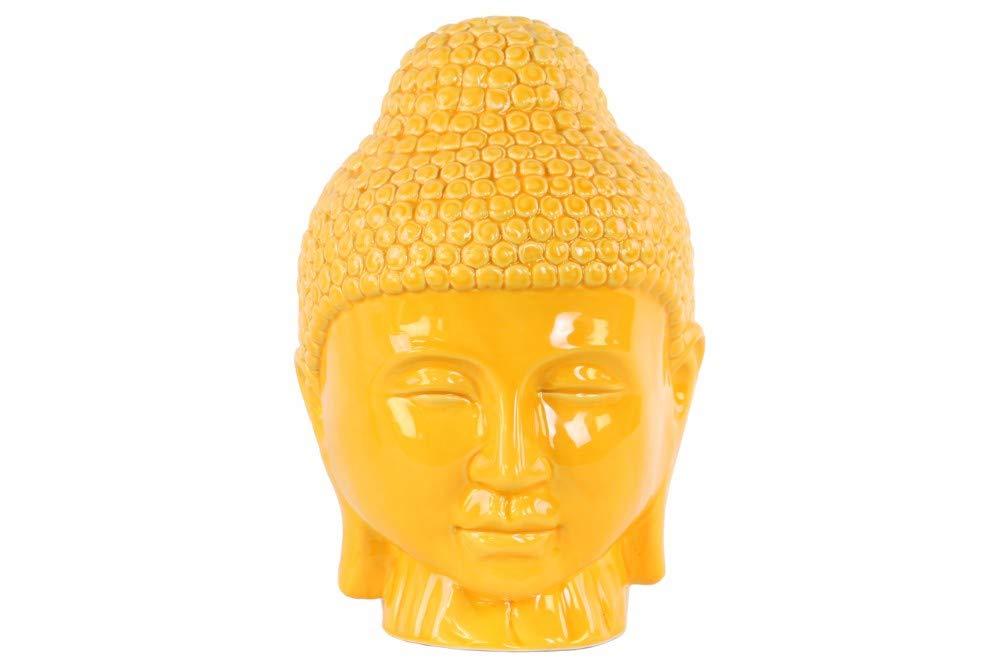 Benjara Rounded Ushnisha Glossy Buddha Head Sculpture, One Size, Yellow by Benjara