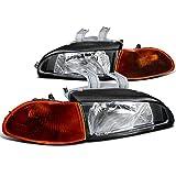 1995 honda civic ex headlights - Honda Civic Dx Ex 4 Dr Black Headlights, Smoked Amber Corner Signal Lights