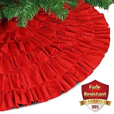Ivenf 48 inch Large Burlap Christmas Tree Skirt Xmas Tree Decorations