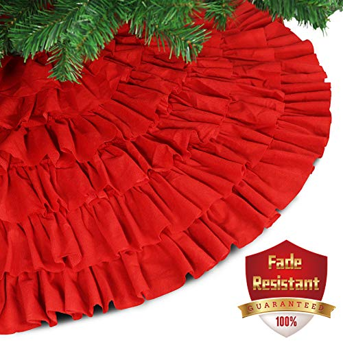 Ivenf 48 inch Large Red Fleece 6-Layer Ruffled Christmas Tree Skirt, Rustic Xmas Tree Holiday Decorations - Knit Christmas Tree