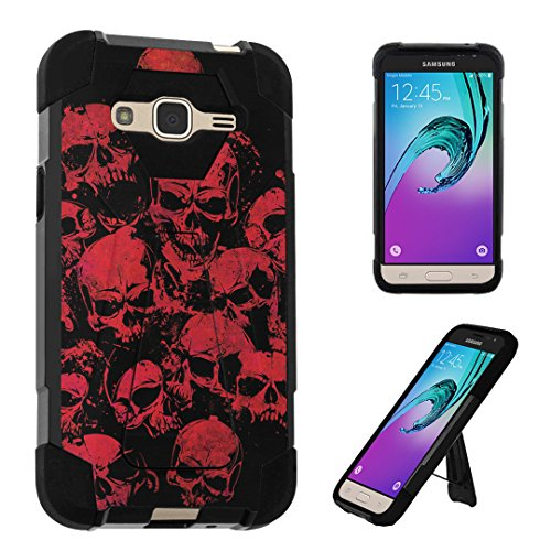 Galaxy J3 Case, DuroCase Transforma Kickstand Bumper Case for Samsung Galaxy J3 SM-J320 (Released in 2016) - (Red Skull) -