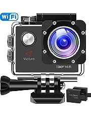 Victure Action Cam 4K Wifi 170° Weitwinkel Aktionkameras Wasserdicht 40M Unterwasserkamera 20MP Ultra Full HD Sport Action Kamera mit Ladegerät 2 Akkus und Gratis Zubehör