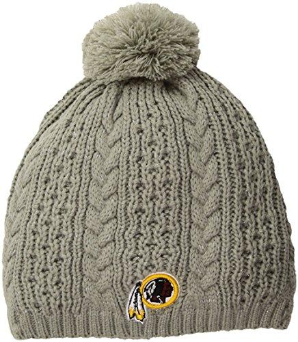 (NFL Washington Redskins Women's Valerie OTS Beanie Knit Cap with Pom, Gray, Women's)
