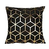 Pillowcase Hurrybuy Geometries Black and Gold Decorations Pillow Home Throw Pillow Cover Love Letter Pattern Design Model Room Pillow Rock Punk Neoclassical Style 18 inches