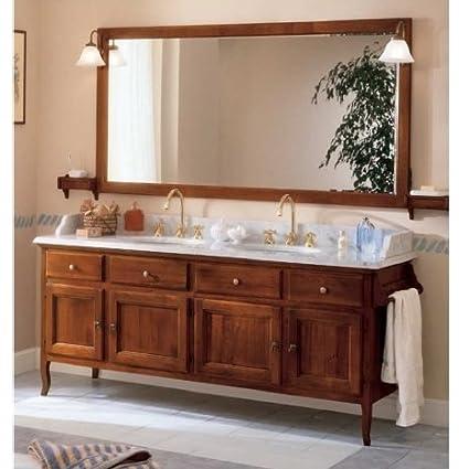 Mobile arredo bagno arte povera 186 cm noce doppio lavabo top marmo ...