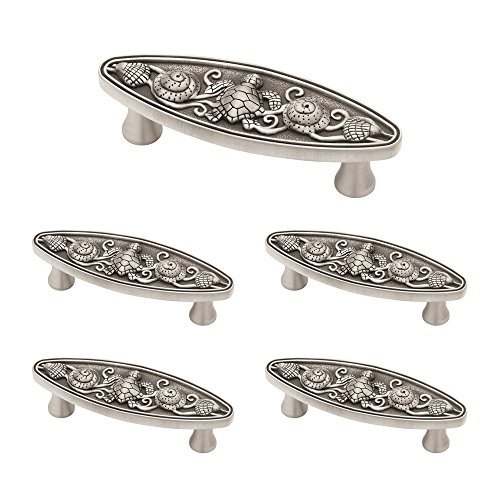 Franklin Brass PBF663-BSP-C1  3-Inch Seaside Oval Kitchen or Furniture Cabinet Hardware Drawer Handle Pull Brushed Satin Pewter, (5 Pack) (Angel Fish Cabinet Knob)