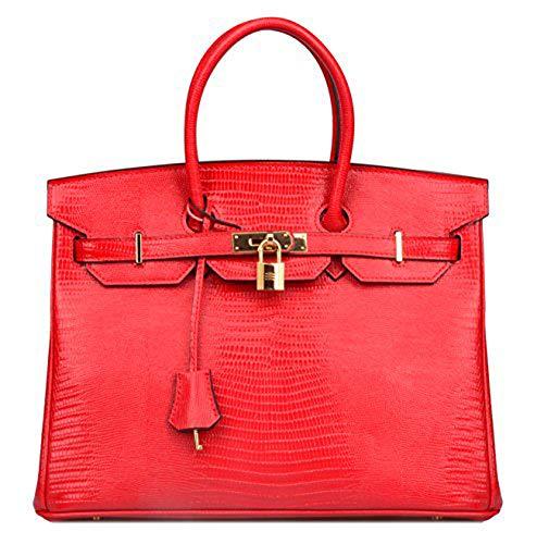 Women's Genuine Leather Lizard Handbags Top Handle Purse Briefcase On Sale (35cm (13.8''), Red)