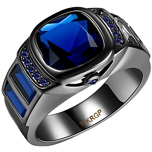 AWLY Black Gold 3 Stone Watch Design Princess Cut Sapphire Blue CZ Anniversary Wedding Ring for Women Men Size 8 from AWLY