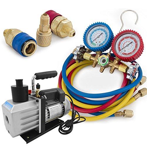 ARKSEN R134a R12 R22 R502 Manifold Gauge & 5CFM 1/2HP Vacuum Pump 5ft HVAC Kit