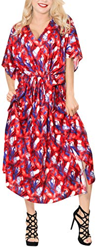 LA LEELA Rayon Printed Long Caftan Beach Dress Girls Red_1236 OSFM 14-22W [L-3X] by LA LEELA