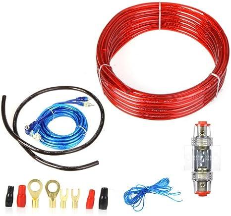 Kit de instalación de coche KKmoon para amplificador de 1500W y altavoz subwoofer con cable de alimentación de 8GA, portafusibles de 60 A y cable de 5m de longitud (fácil instalación de amplificado