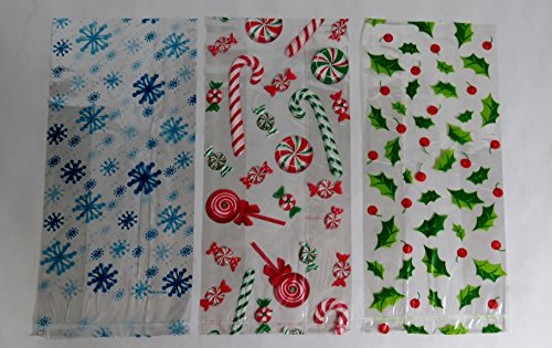 75 Christmas Treat Bags with Twist Ties - Cellophane (Treat Bags For Christmas)