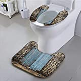 Leighhome Toilet seat Cover Rustic Stone Wall of Dated Closed Barn Urban City Town Scenery Blue Grey Soft Non-Slip Water