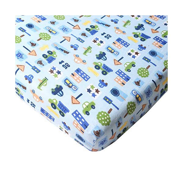 Big Oshi Fitted Crib Sheet – Fits Full Size Baby Crib or Toddler Bed Mattress – Fits Mattresses up to 8 Inches Deep – Knitted, 100% Cotton, Cars Pattern, Blue
